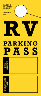 STOCK-RV Parking Pass. Mirror Hang Tags (sku: 200010)