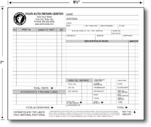 Automotive Repair and Service Order Carbonless Forms 8.5 x 11 (sku: 100003)