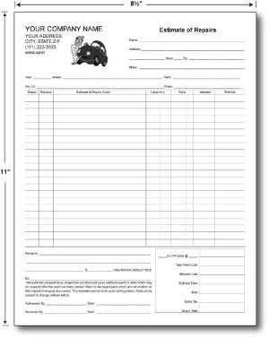 Carbonless Estimate Forms 8.5 x 11 (sku: 100009)
