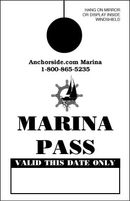 Marina Visitor Pass, Mirror Hang Tag (sku: 200005)